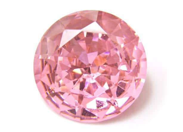 Lab Grown Pink Diamond with a Round Brilliant Cut.