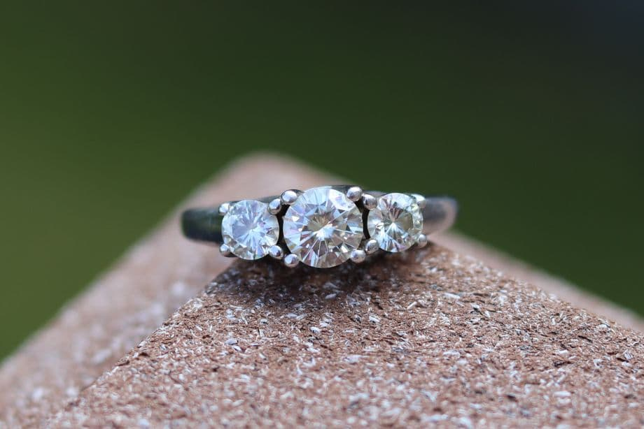 Moissanite Ring with Three Stones That Doesn't Look Yellow
