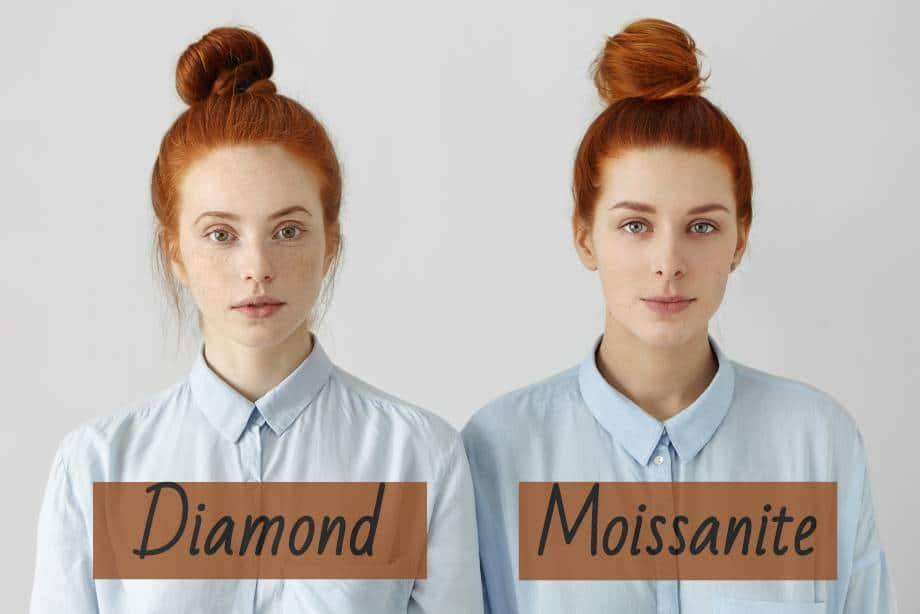 Moissanite and Diamond look almost identical