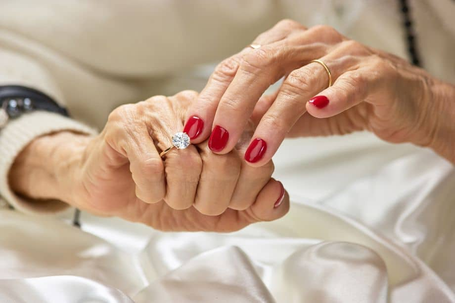Elderly Woman Showing her Moissanite Ring, as a Frugal Family Heirloom That Should Last For Generations